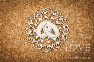 .Chipboard - Wedding rings with rosette - First Love