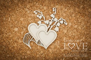 .Chipboard - Hearts with with lilies of the valleys - First Love