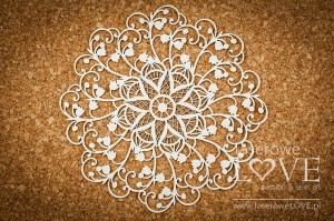 Chipboard - Big doily with lilies of the valley - First Love