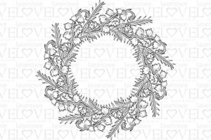 Stamp - Wreath with lilies of the valley - First Love