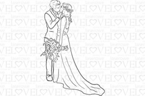 Rubber stamp - Wedding Couple Kissing - First Love