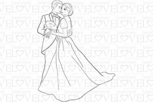 Rubber stamp - Wedding Couple - First Love