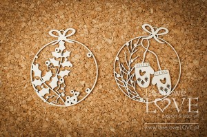 .Chipboard - Mini baubles with gloves - Vintage Christmas