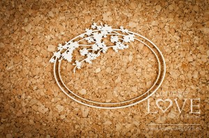 Chipboard - Oval frame with a cherry branch - Wedding Day