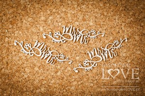 Chipboard - Mr and Mrs with ornaments - Simple Wedding