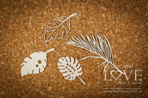 Chipboard - Tropical leaves set 2 - Vintage Tropical Island