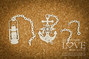 Chipboard - Anchor and lamp - Nautical Holidays
