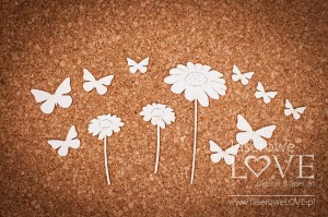 Chipboard  -Flowers and butterflies - Forest Camp