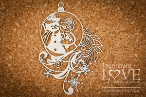 Chipboard - Bauble with snowmen couple - Shabby Winter