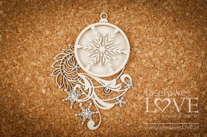 Chipboard - Bauble with chains shaker box - Shabby Winter