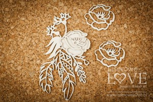 Chipboard - Flowers with feathers - Indiana