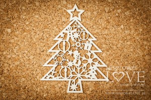 Chipboard - Christmas tree with toys - Winter Song