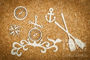 Chipboard - Composition with anchor and waves - Nautical Holidays