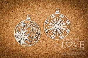 Chipboard  -  Two baubles with star - Shabby Winter