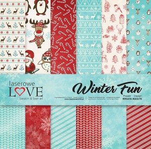 Set of papers 30x30 cm - Winter Fun - Laserowe LOVE