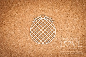 Chipboard - Round frame with a heart in the grid - Pharse