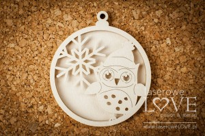 Chipboard - Bubble with owl shaker box - Winter Fun