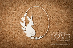 .Chipboard -  Frame with rabbit  - Easter Bunny