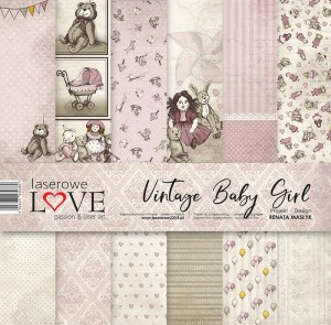 Set of papers - Vintage Baby Girl  - 30,5 cm x 30,5 cm - Laserowe LOVE