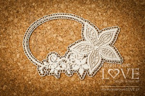 Chipboard -  Oval frame with ornaments- Flower