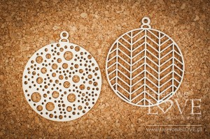 Chipboard - Baubles with patterns - Vintage Christmas
