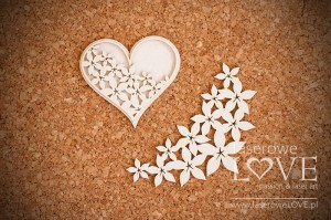 Chipboard - Heart - Flower
