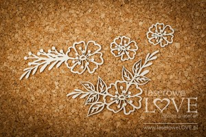 Chipboard - Flowers with leafs - Indiana