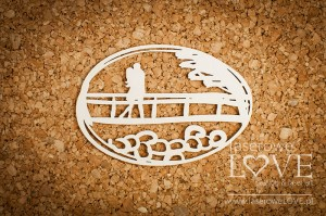 Chipboard - Couple in love on a bridge - Simple Wedding