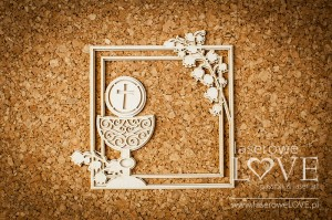 Chipboard - Square frame with delicate valleys and chalice - El Santo Rosario