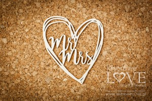 .Chipboard - Mr and Mrs in a heart - Simple Wedding