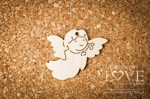 Plywood - Flying angel with flower - pendant 4 items