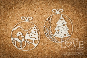 Chipboard - Mini baubles with snowman - Vintage Christmas