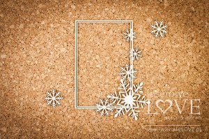 Chipboard -Rectangular frame with Noel snowflakes