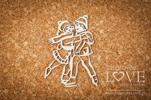 Chipboard - Skaters couple - Shabby Winter