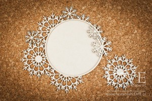 Chipboard - Big round frames with snowflakes - Arctic Sweeties