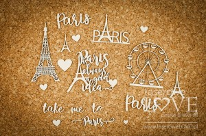 Chipboard - Paris and Eiffel Tower - Vintage Trip