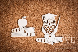 .Chipboard - Owl with books  Back to school
