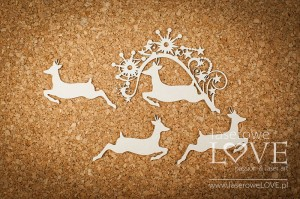 Chipboard - Fawn among stars - Vintage Christmas