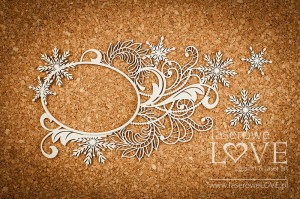 Chipboard - Big frame with ornaments - Shabby Winter