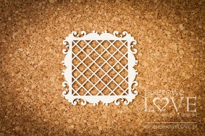 Chipboard - Square frame Paroles with a floral ornament mesh