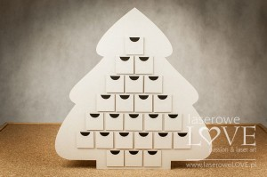 Chipboard - Christmas Tree Advent Calendar - Vintage Christmas