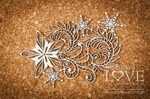 Chipboard - Star with ornament - Shabby Winter
