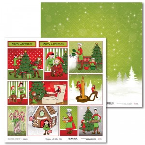 Papier 30 x 30 cm - Christmas with elves - 06 - Laserowe LOVE