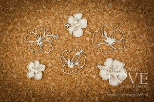 Chipboard - Individual hibiscus flowers - Vintage Tropical Island
