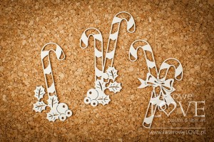 Chipboard - Candies with holly - Vintage Christmas