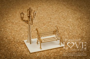Chipboard - Small bench under the lantern, 3D - Vintage Trip