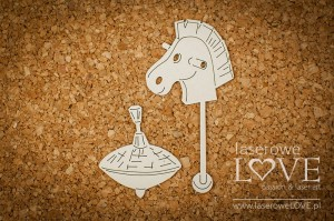 Chipboard - Horse and tin top - Vintage Baby
