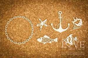 Chipboard - Frame chain anchor and fish Di Mare
