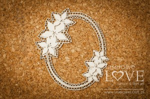 Chipboard -  Oval frame  - Flower
