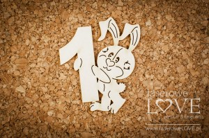 Chipboard - Rabbit with no 1 - Emma & Billy